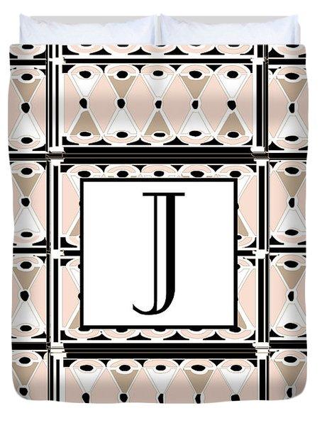 Pink Champagne Deco Monogram  J Duvet Cover