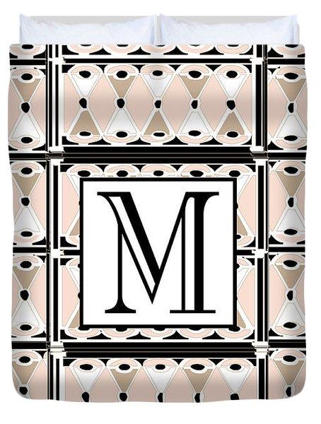 Pink Champagne Deco Monogram  M Duvet Cover