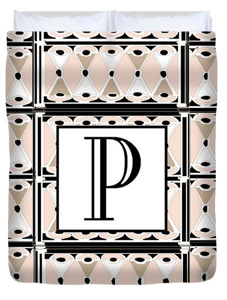 Pink Champagne Deco Monogram  P Duvet Cover