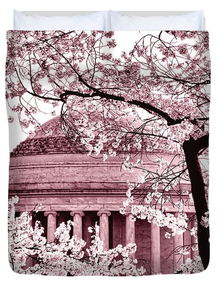 Pink Cherry Trees At The Jefferson Memorial Duvet Cover