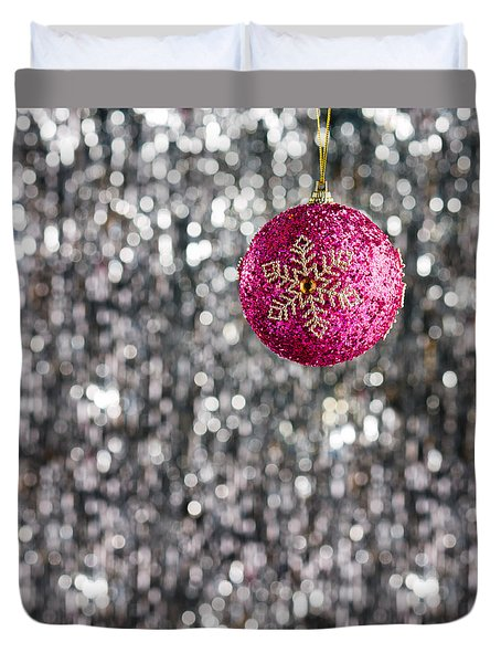 Duvet Cover featuring the photograph Pink Christmas Bauble by Ulrich Schade