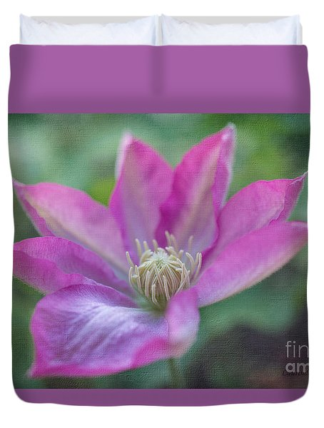Duvet Cover featuring the photograph Pink Clematis #2 by Laurinda Bowling