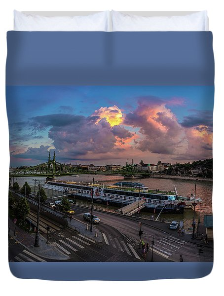 Pink Clouds Above The Danube, Budapest Duvet Cover