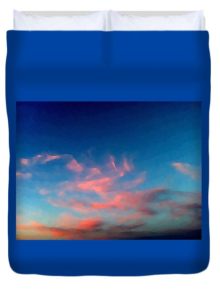 Duvet Cover featuring the digital art Pink Clouds Abstract by Shelli Fitzpatrick