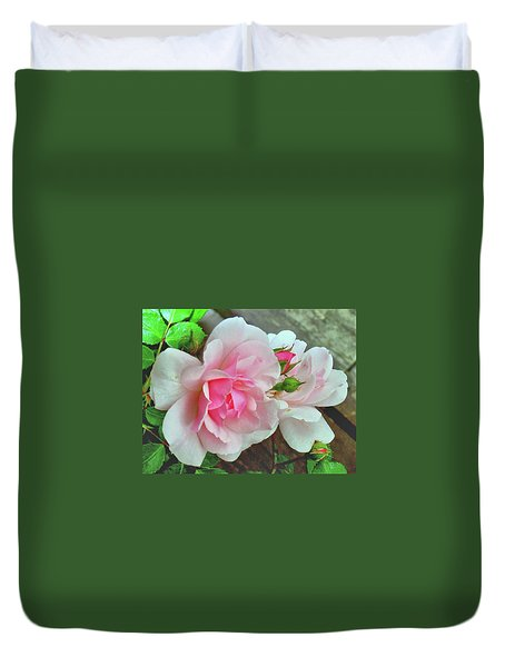 Duvet Cover featuring the photograph Pink Cluster Of Roses by Janette Boyd