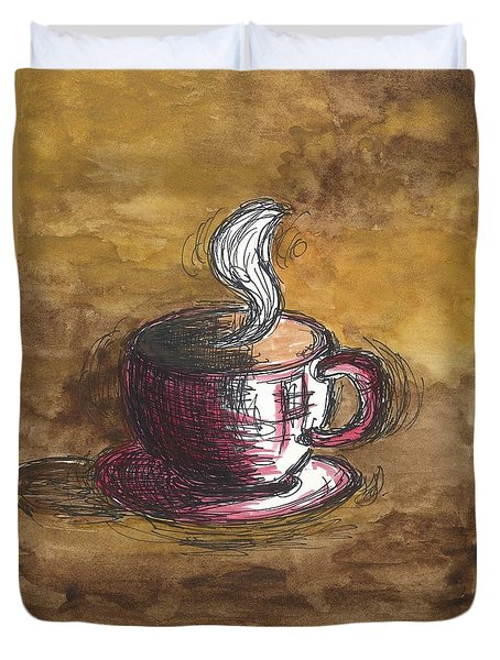 Pink Coffee Cup Duvet Cover