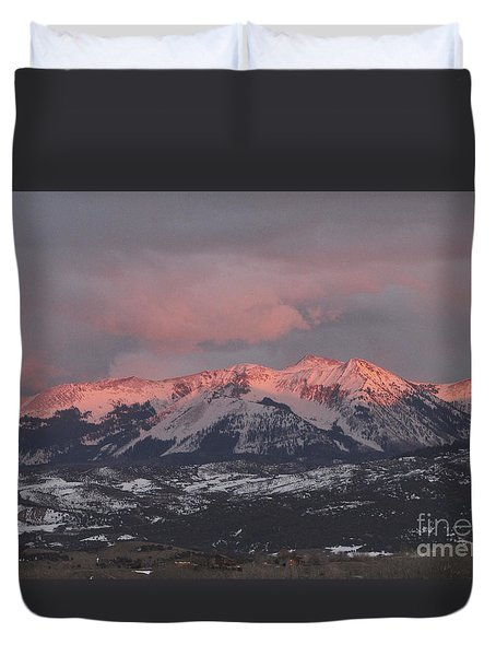 Pink Colorado Rocky Mountain Sunset Duvet Cover
