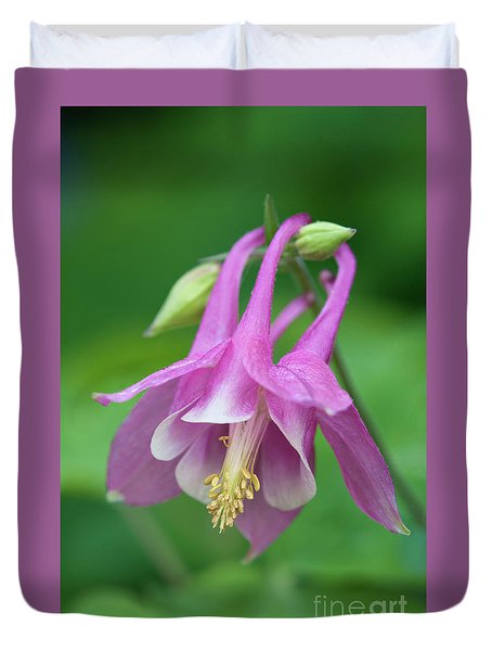 Duvet Cover featuring the photograph Pink Columbine - D010096 by Daniel Dempster