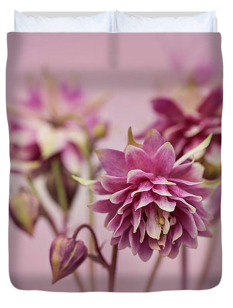 Pink Columbines Duvet Cover