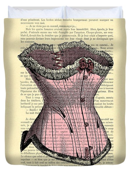 Pink Corset On Dictionary Book Page Duvet Cover