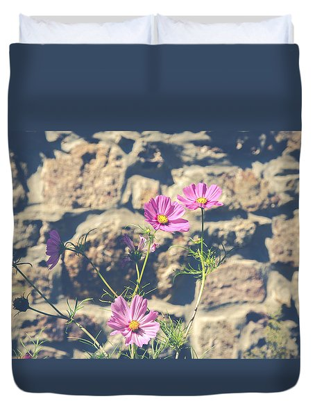 Pink Cosmos Duvet Cover by Eleanor Abramson