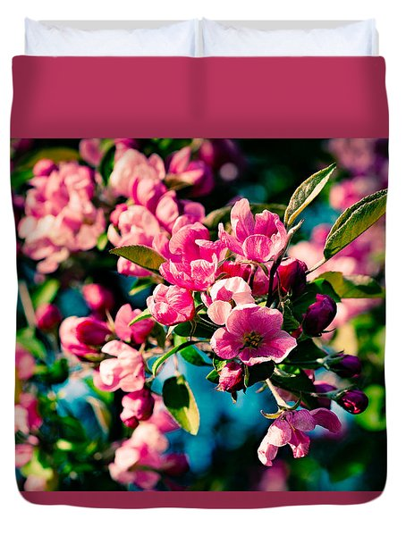 Pink Crab Apple Flowers Duvet Cover