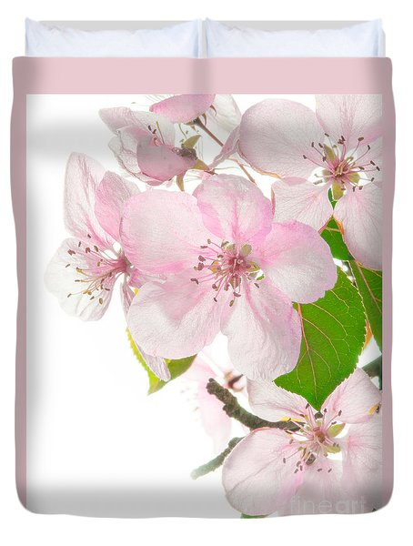 Pink Crabapple Blissoms Duvet Cover