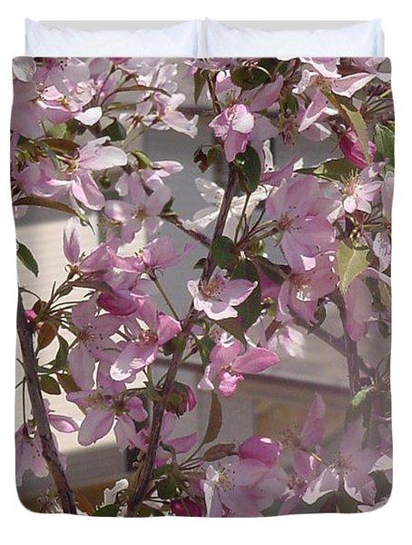 Pink Crabapple Branch Duvet Cover