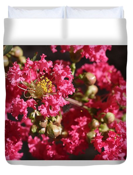 Duvet Cover featuring the photograph Pink Crepe Myrtle Flowers by Debi Dalio