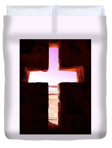 Pink Cross Duvet Cover