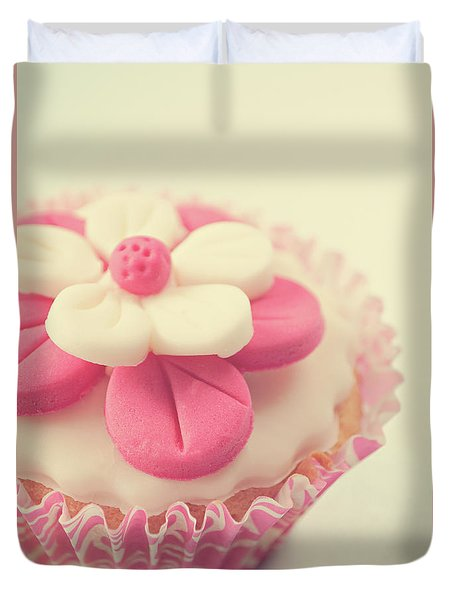 Duvet Cover featuring the photograph Pink Cupcake by Lyn Randle