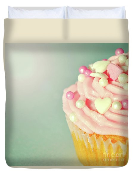 Duvet Cover featuring the photograph Pink Cupcake With Lovehearts by Lyn Randle