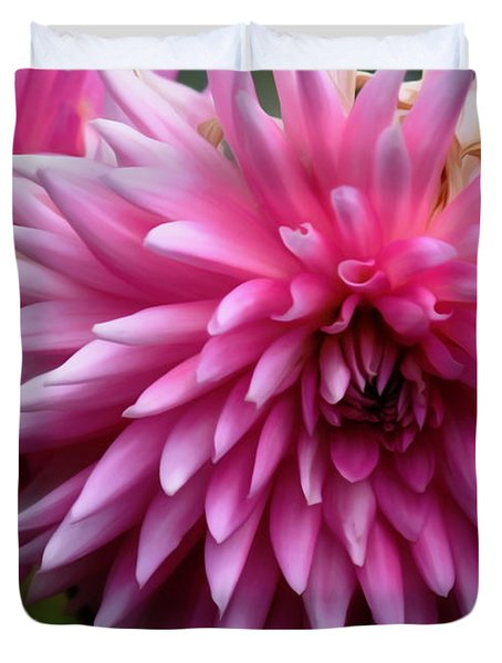 Duvet Cover featuring the photograph Pink Dahlia by Erica Hanel