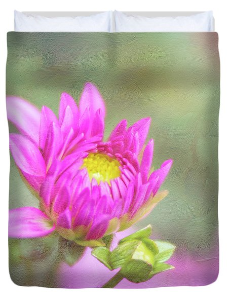 Emerging Pink Dahlia Full Of Hope Duvet Cover