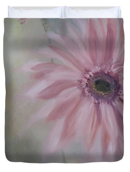 Duvet Cover featuring the painting Pink Daisies by Donna Tuten