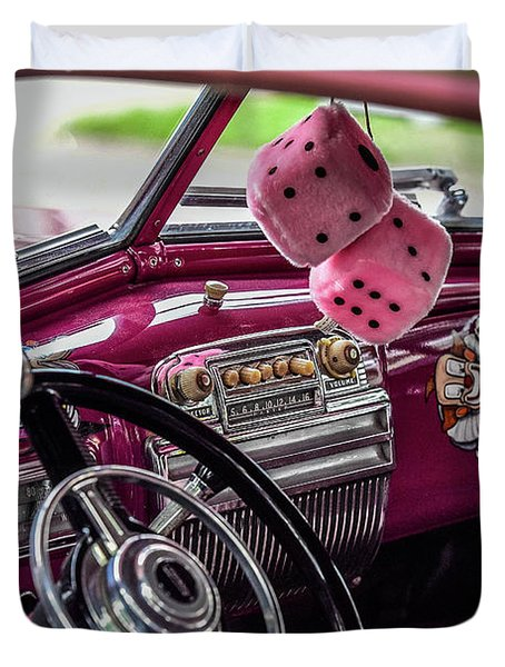 Pink Dice Duvet Cover