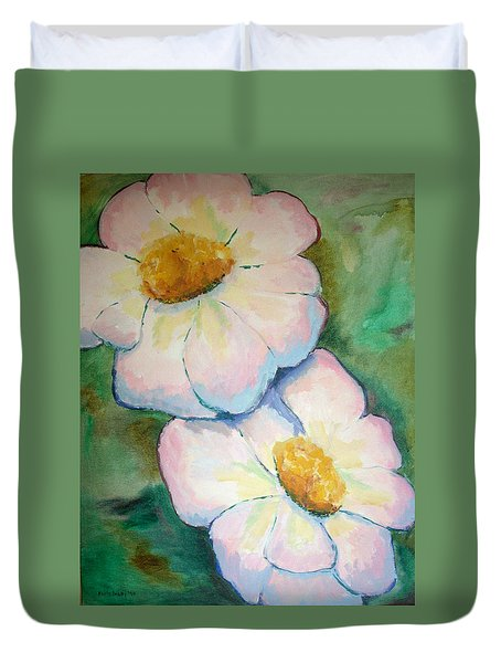 Pink Disc Flowers Duvet Cover