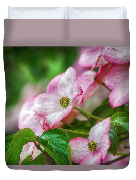 Pink Dogwood Duvet Cover by Bonnie Bruno