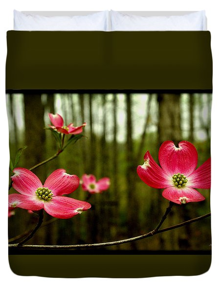 Pink Dogwood Flowers Duvet Cover