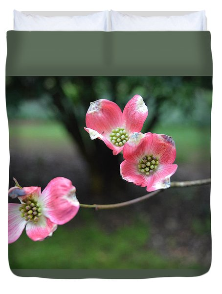 Duvet Cover featuring the photograph Pink Dogwood by Linda Geiger