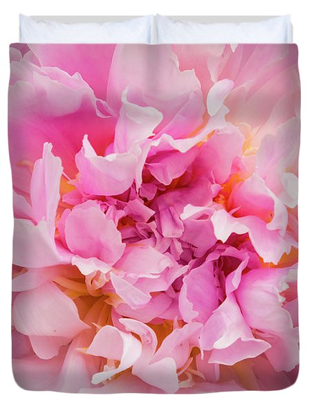 Pink Double Peony Duvet Cover