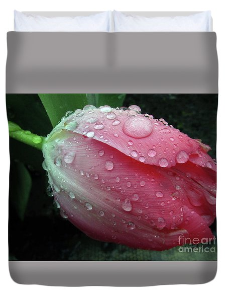 Pink Drops #2 Duvet Cover by Kim Tran