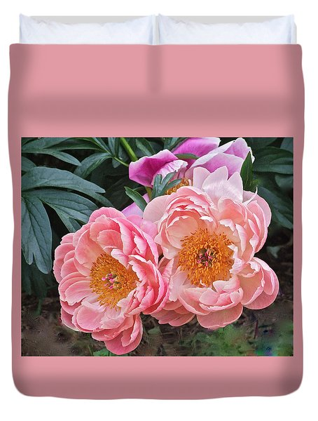 Pink Duo Peony Duvet Cover