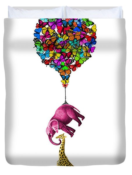 Pink Elephant And Giraffe Hanging From A Butterfly Balloon Duvet Cover