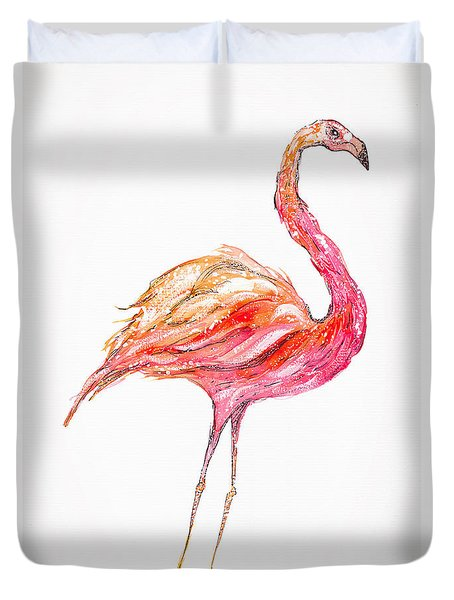 Pink Flamingo Bird Duvet Cover
