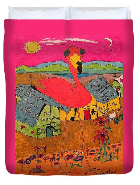 Pink Flamingo Camp Duvet Cover