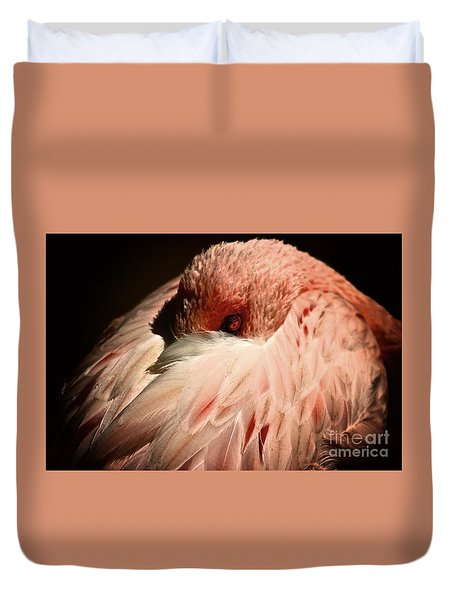 Pink Flamingo I'll Be Watching You Duvet Cover