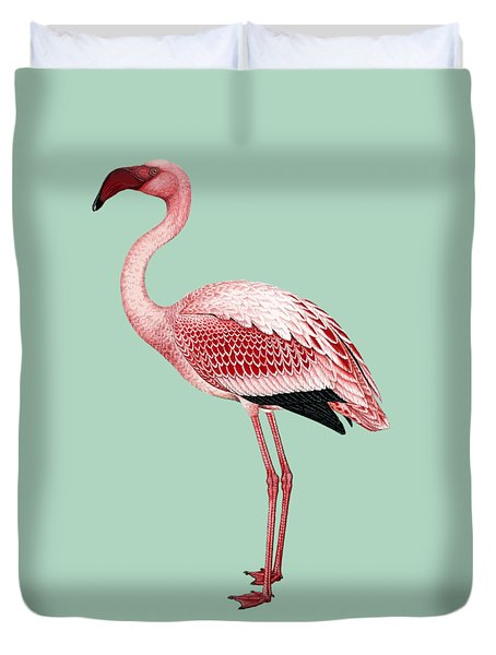 Pink Flamingo Isolated Duvet Cover