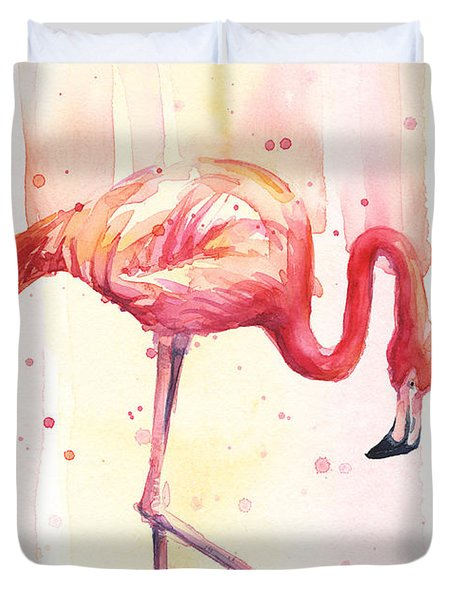 Pink Flamingo Watercolor Rain Duvet Cover by Olga Shvartsur