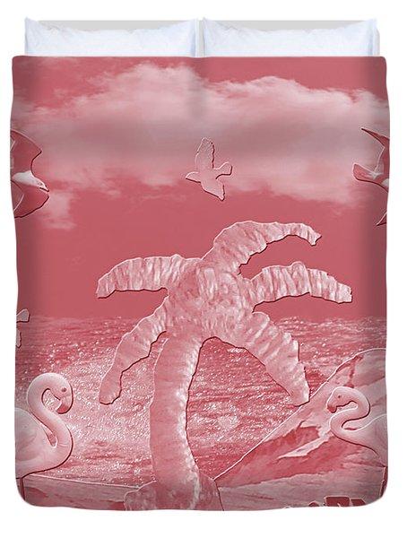 Pink Flamingo's Palms Duvet Cover