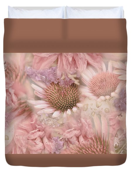 Pink Floral Montage Duvet Cover by Bonnie Bruno