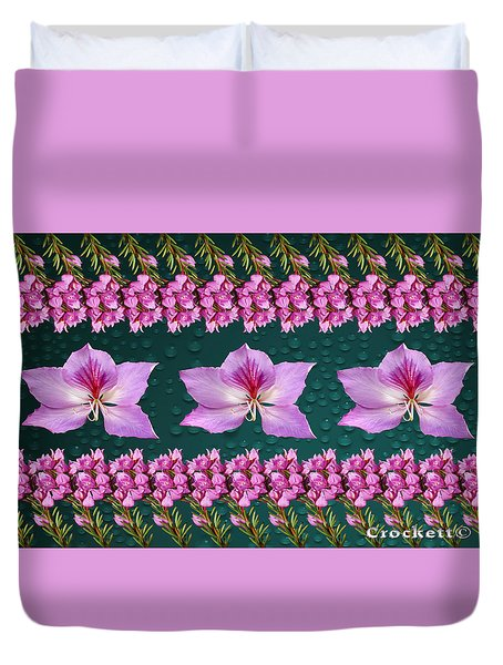Pink Flower Arrangement Duvet Cover