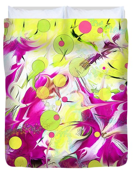 Duvet Cover featuring the photograph Pink Flower Explosion by Shawna Rowe