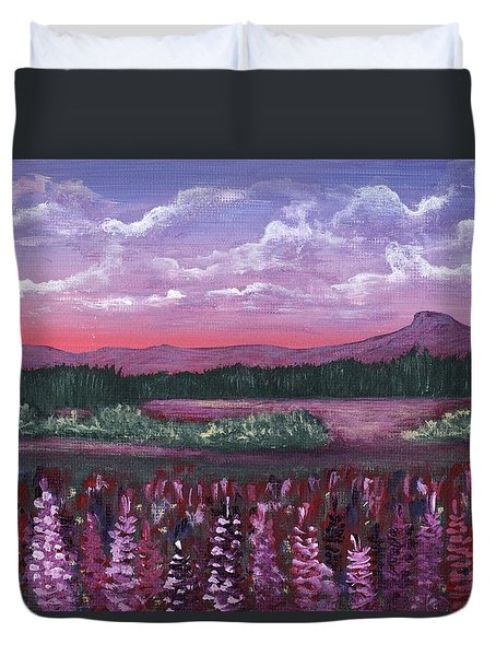 Duvet Cover featuring the painting Pink Flower Field by Anastasiya Malakhova