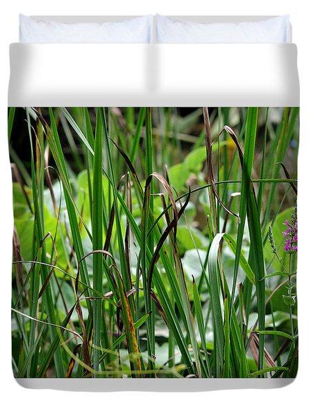 Pink Flower In The Grass Duvet Cover