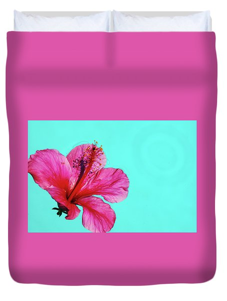 Pink Flower In Water Duvet Cover