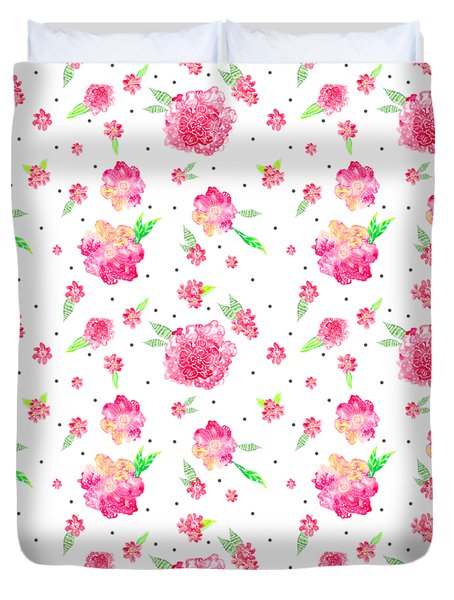 Pink Flower Pattern Duvet Cover