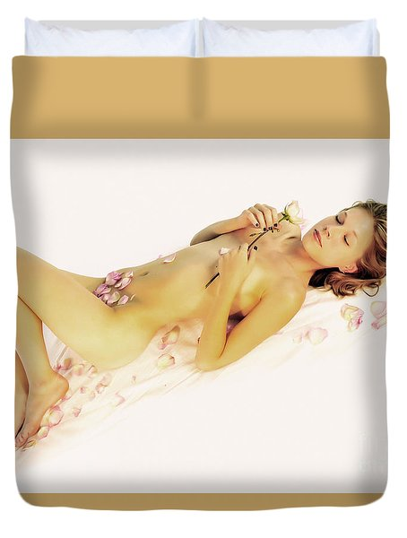 Pink Flower Petals Duvet Cover by Robert WK Clark
