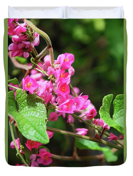Duvet Cover featuring the photograph Pink Flowering Vine3 by Megan Dirsa-DuBois