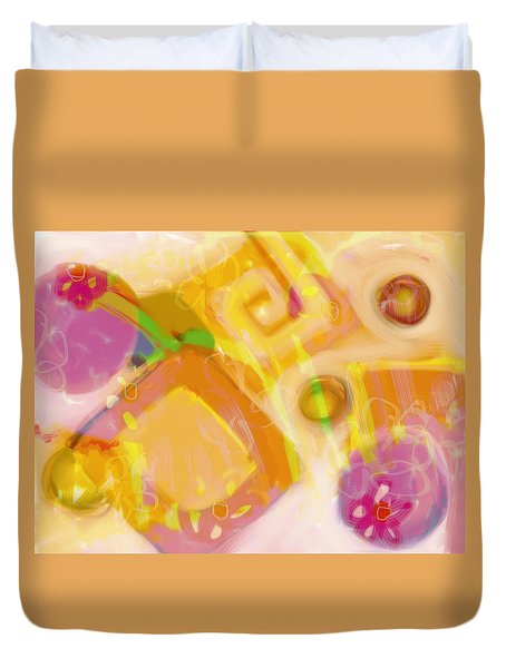 Pink Flowers And Orange Abstract Duvet Cover by Susan Stone